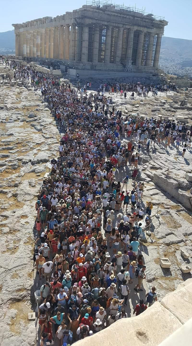 Acropolis of Athens on the 8th August 2019 reached a record of 18.000 visitors in one morning, taken from the site guards' Facebook page